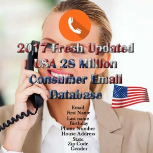 2017 Fresh Updated USA 28 Million Consumer Email Database