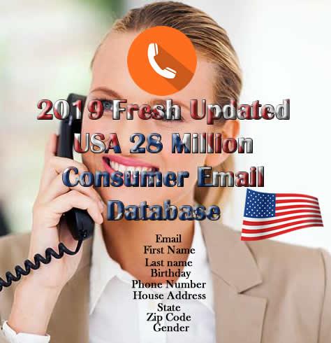 2019 Fresh Updated USA 28 Million Consumer Email Database